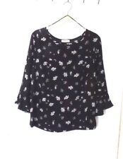 PAPAYA  SIZE 14  BLACK FLORAL 100% POLYESTER TOP with 3/4 SLEEVES