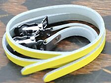 Yellow Leather TOE CLIPS STRAPS Fixie Track Road Bike MTB Bicycle Pedal Cages