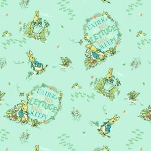 Beatrix Potter Peter Rabbit Sleepy Lettuce Digitally Printed Cotton Fabric BTY