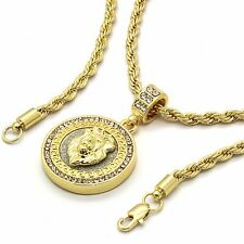 """Men 14k Gold Plated Hip Hop Round Lion Iced Out Pendant 4mm 24"""" Rope Chain GP07"""