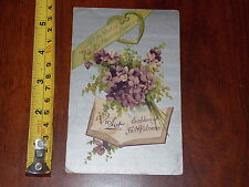POSTCARD RARE VINTAGE VIOLET EMBLEM OF FAITHFULNESS HEART IN FLOWERS 1909
