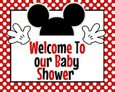 Disney Baby Mickey Mouse STAND UP 8.5x11 in. Welcome to the Baby Shower in Red