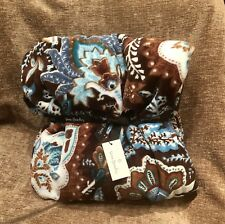 "Vera Bradley Plush Throw Blanket  JAVA BLUE 50"" x 80"" New NWT RARE Limited Ed"