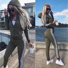 2Pcs Women Tracksuit Hoodies Sweatshirt Pants Sets Sport Wear Zip Casual Suit LG