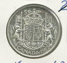 1952 UNC CANADA 80% SILVER 50 CENT  Die Crack