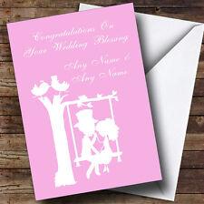 Pastel Pink Couple Eon Swing Personalised Wedding Blessing Greetings Card