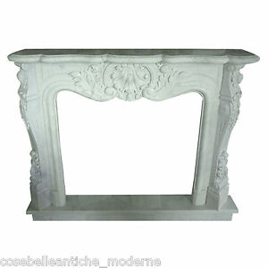 Fireplace Classic White Marble Carrara 59 1/8in