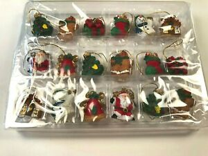 "Vtg NOS 18 Miniature 1"" Hanging.Ornaments Folk Christmas Hand Painted Polystone"
