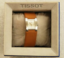 Ladies Tissot Silver Tone Quartz Watch w/ Suede Leather Band & Box – Not Running