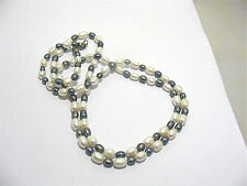 SILVER WHITE AND BLACK PEARL NECKLACE STRING STRAND 34 INCHES LONG