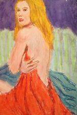 Vintage pastel painting nude female portrait
