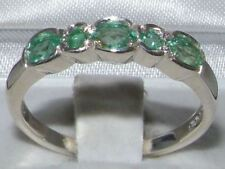 Solid 10ct White Gold Natural Emerald Womens Eternity Ring - Sizes J to Z