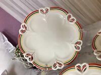 Antik Max Rösler 5x Jugendstil Keramik Teller Dessertteller Durchbruch-Rand Rar