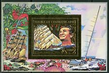 Centre Afrique Navigateurs TABARLY Sailor Ship Gold Foil Or MICHEL Bloc 152 A