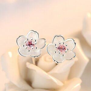 925 Silver Cute Cherry Blossoms Flower Earrings Stud Women Party Jewelry Gift