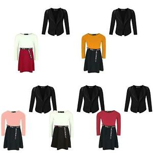 Girls Tik Tok Belt Skater Dress Shoulder Detail Jacket Blazer Set Bundle 3-14