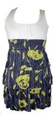 Ladies Girls Cream and Yellow Multi Floral Print Womens Top Dress. Size:UK 6.