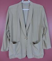 TB06214- LIZ CLAIBORNE Women's Silk Jacket Long Sleeve Pocket Yellowish Green L
