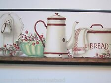 Country Kitchen Wall Decor Plaque, red & white antique vintage enamelware sign