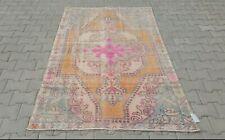 Oushak 4x7, Turkish Rug,vintage,anatolian,ORANGE PINK Blu,Bohemian,handmade,wool