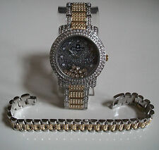 MEN'S GOLD/SILVER FINISH CLEAR FLOATING CRYSTAL BLING  WATCH AND BRACELET SET