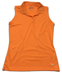 NIKE Women's Dri-Fit Golf Tour Performance Sleeveless Shirt Small Orange