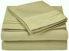 Luxor Style Microfiber Sheet ~ Khaki w/ 3 Line White Embroidery ~ King FLAT ONLY