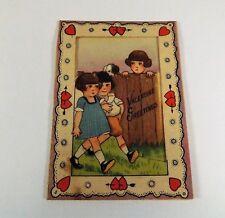 """Vintage 1940's Valentine Card 3 Kids Lonely Jealousy My Pal 3 1/2"""" x 2 1/2"""""""