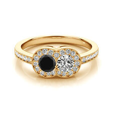 1.30  Cts Black AAA&White VS-SI1 2 Stone Diamond Solitaire Engagement Ring14k YG