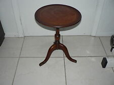 Antique Vintage Columbia Mfg Co End Coffee Lamp Table Mahogany Leather Top Round