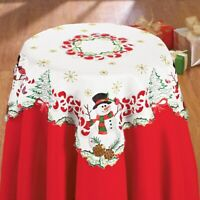 Charming Snowman with Cardinal Embroidered Square Polyester Christmas Tablecloth