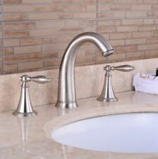 Brushed Nickel Double Handle Widespread Bathroom Faucet Sink Basin Mixer Tap