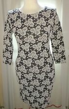 River Island Stretch Mini Dress size 8, Black & White Flower Floral Pattern