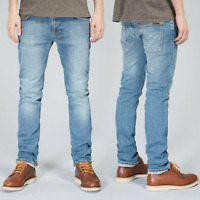 Nudie Herren Slim Fit Bio Denim Stretch Jeans Hose - Thin Finn Tender Blues