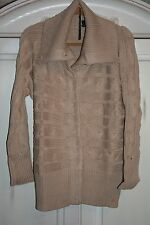 Talbots~NWT~KHAKI TAN~cabled and ribbed~CARDIGAN sweater~COTTON~1X~R$149
