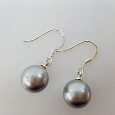 Fashion 10mm Round Shape Grey Color Shell Pearl Silver Hook Drop Earring AAA
