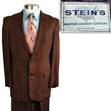 Vintage 1950s Brown Hatched Atomic Fleck Suit 36 38 32x31