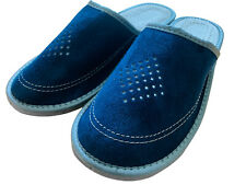 Navy Blue Men Leather Slippers Slip On Healthy Shoes Gents Mules All Sizes