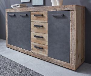 Sideboard Kommode Used Wood grau Vintage 150 cm Schubladen Anrichte Retro Tailor
