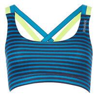 New Reebok Sports Bra Vest Top Blue Ladies Womens Running Gym Training Fitness