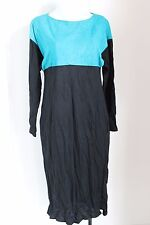 Samelson & Abrams Women Dress Small Suede Color Block Shift Long Sleeve Slits