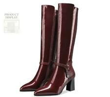 Womens Fashion Patent Leather Buckle Strap Block Heel Knee High Boots Shoes BGHE