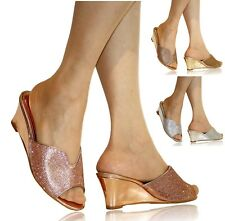 Womens Diamante Wedge Low Mid Heel Evening Party Slip On Shoes Mules Sandals 438