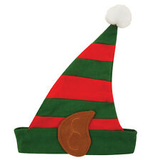 5 X Adult Elf Hat With Pixie Ears in Red & Green Christmas Fancy Dress W00 097