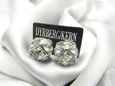 Dyrberg Kern Faceted Clear Crystal Silver Tone Stud Earrings, SHINING!
