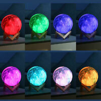 16 Color Change Touch Switch Night Light Home 3D Print Galaxy Star LED Moon Lamp