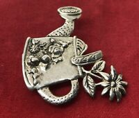 Vintage Sterling Silver Brooch Pin 925 Signed Flower Watering Can