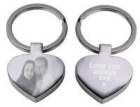 Personalised gift Engraved text logo photo keyring birthday keepsake Valentines