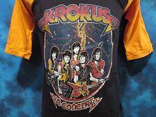 NOS vintage 80s KROKUS CONCERT RAGLAN T-Shirt SMALL jersey rock metal tour thin
