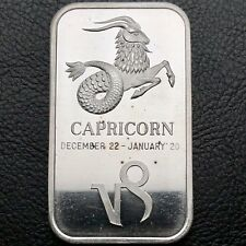 Capricorn Zodiac Dec 22 - Jan 20 1 oz .999 Silver Bar Madison Mint (6722)